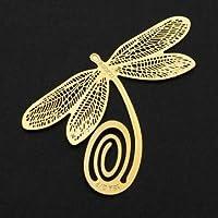 Bheema - Chapado en oro de alta calidad de la lectura de la libélula de metal Clip Bookmark Regalo marcas de libro