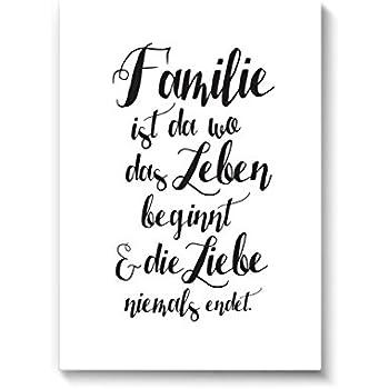 Kunstdruck poster mit spruch eine familie typografie bild auf hochwertigem karton plakat - Wandbild familie ...