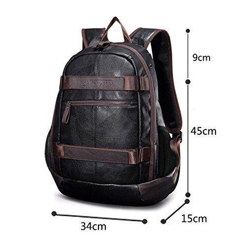 Imagen de wewod  para ordenador portatil 15.6 pulgadas,  escolares pu cuero , negocios,retro backpack alternativa