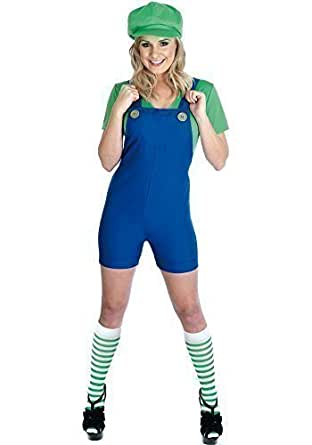 Ladies Mario Luigi Plumber Cartoon Fancy Dress Costume Outfit inc Plus Size (UK 8-10, Green)