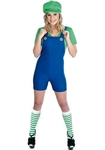 Damen Mario Luigi oder Wario Klempner Cartoon 1980s Halloween Kostüm Kleid Outfit UK 8-30 Übergröße - Grün, 12-14