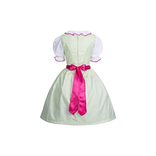 """Dirndl 4 tlg.Trachtenkleid grün weiß kariert mit Schürze in pink + Büstenhebe BH """"Push Up"""", Marke Gaudi-Leathers Grün weiß kariert"""