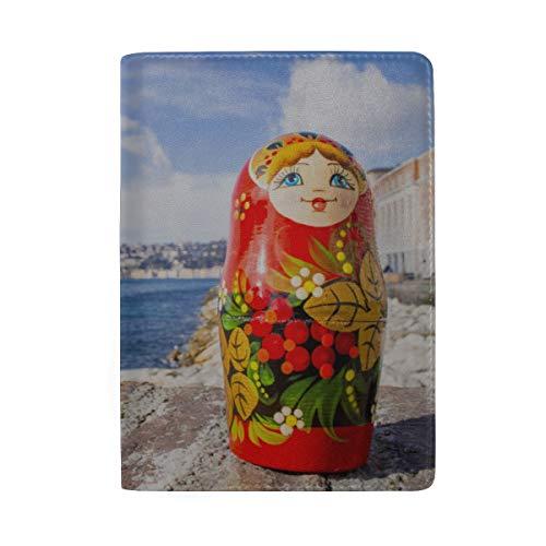 Bunte russische Verschachtelungs-Puppen, die Druck-Pass-Halter-Abdeckungs-Fall-Reisegepäck-Pass-Mappen-Kartenhalter blockieren, machten mit Leder für Mann-Frauen-Kind-Familie (Verschachtelungs-puppen)