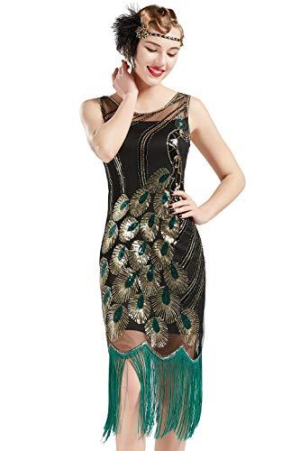 ArtiDeco 1920s Kleider Damen Pfau Muster Knielang Vintage Abendkleid 20er Jahre Flapper Damen Gatsby Kostüm Kleid (Schwarz - Stil 2, M (Fits 76 cm Waist & 96 cm Hips))