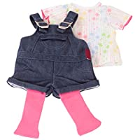 Gotz 3402053 Standing Doll Set Denim Dungarees - Size XL - Dolls Clothing / Accessory Set - Suitable For Standing Dolls Size XL (45 - 50 cm)