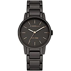Fiorelli Women's Quartz Watch with Black Dial Analogue Display and Gun Metal Alloy Bracelet FO028BM