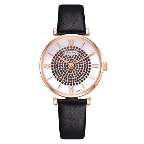 COOKDATE Damen Armbanduhr Mode Kreis Backstein Stein Wählen römisch Digital Rahmen Gürtel Quarz Schwarz