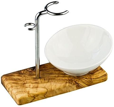 Rasierpinselhalter / Rasierpinsel Ständer aus Olivenholz Edelstahl und mit Porzellan