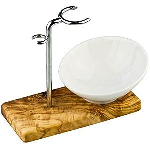 Rasierpinselhalter/Rasierpinsel-Ständer aus Olivenholz + Stahl + Porzellan Schale, sehr schönes Set, perfekt als Geschenk Geschenke für Männer, Rasierständer Rasierhalter Halter Rasierer
