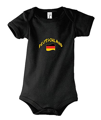 Supportershop Body Bebé Negro Alemania fútbol, Body bébé noir Allemagne, negro, FR : 18-23 mois (Taille Fabricant : 18-23 mois)