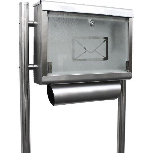 Edelstahl Standbriefkasten Briefkasten Postkasten Mailbox Letterbox Briefkastenanlage Eckig mit Glasfront