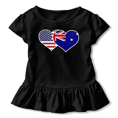 Toddler Baby Girl American Australian Flag Heart Funny Short Sleeve Ruffle T Shirt - American Heart Baby T-shirt