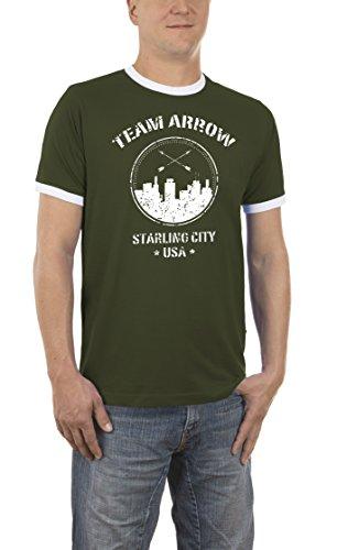 Touchlines Herren T-Shirt Team Arrow Kontrast Grün (Khaki 06) Large -