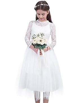 iEFiEL Vestido de Princesa Boda para Niña Dama de Honor Vestido de Fiesta Traje de Ceremonia Encaje Vestido Floreado...