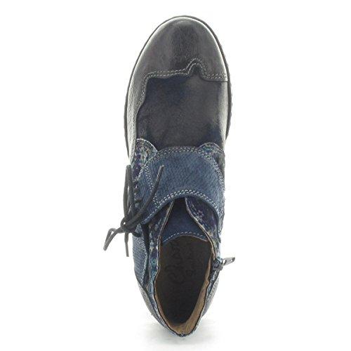CHARME Stiefelette 0561E - Obermaterial Echtleder schwarz/blau kombiniert - Lederfutter Schwarz/Blau