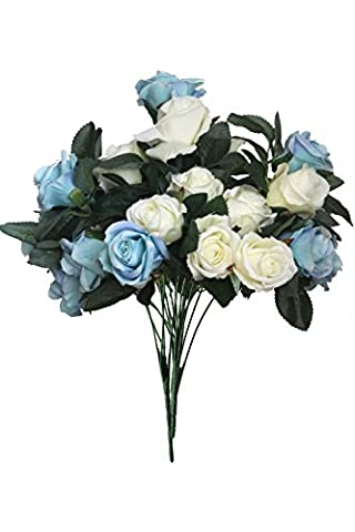 Artificial Multi-Coloured Rose Silk Flowers Bounquet Mixed Arrangement, Home Hotel Room Wedding Decoration( Blue Rose,Pack of 1/ White Rose,Pack of