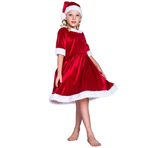 EraSpooky Mädchen Weihnachtsmann Kostüm Santa Claus Kleid Outfit mit Hut (Mädchen Claus Santa Kleider Für)