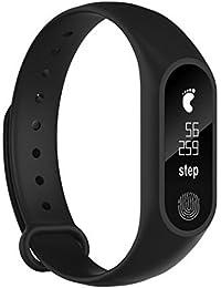 Pulsera inteligente,M2PULS,Fitness Tracker con Pulsómetros,Cronómetro,Gps para running,monitor de ritmo cardiac,Notificación de mensajes,Impermeable IP67,Monitor de Sueño Pulsera (Negro premium)