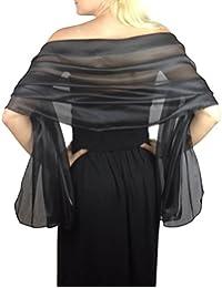 Black Silky Iridescent Wrap Stole Shawl For Weddings Bridal Bridemaids Balls & Evening Wear
