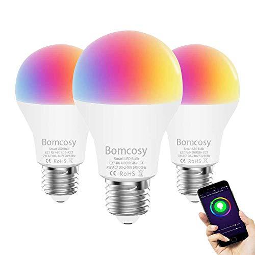 Lampadina Wi-Fi Smart Dimmerabile LED E27 RGBCW A60 7W Equivalente 60W 650 LM Telecomando con Dispositivo Inteligente e Controllo vocale di Alexa e Google Home Nessun Hub Richiesto 3 Pezzi