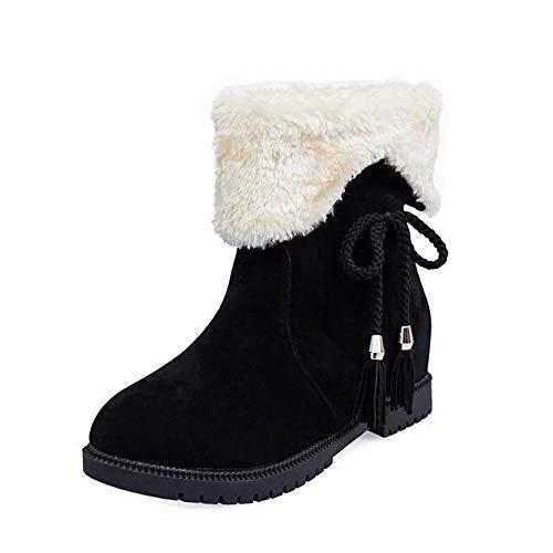 TianWlio Frauen Herbst Winter Stiefel Schuhe Stiefeletten Boots Plateau Heels Weiche Dicke Plateau Stiefel mit Hohem Absatz Erhöhen Sich Innerhalb der Stiefel Schwarz 40