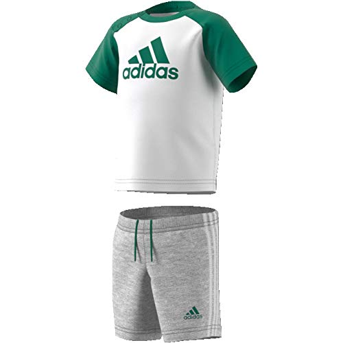 adidas Summer Mini Set Kinder Sportanzug, White/Bgreen, 74