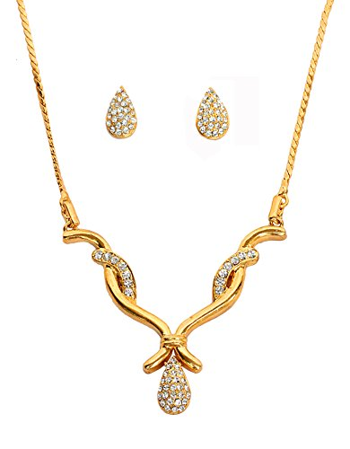 Touchstone Alloy Curved Motif White Rhinestone Light Designer Jewelry Necklace Set In Gold Tone For Women