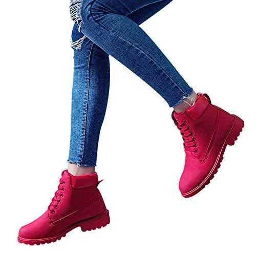 TianWlio Stiefel Frauen Herbst Winter Schuhe Stiefeletten Boots Mode Leder Dicke Stiefeletten Metall Kurze Stiefel Reißverschluss Runde Zehe Schuhe rot 37