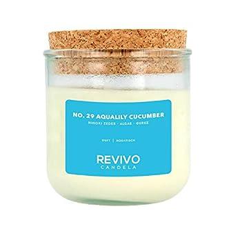 Große Duftkerze aus Rapswachs, frischer aquatischer Duft, No. 29 Aqualily Cucumber, Duftkerze, handgemacht, Revivo…