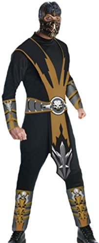 Halloweenia - Herren Mortal Kombat Fighter Scorpion Karneval Faschingskotüm, XL, Mehrfarbig