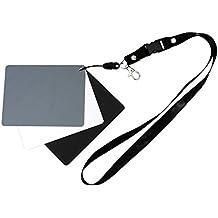 Ares fotográfico ® Tarjeta de grises para fotografía//Incluye Negro Tarjeta de color blanco y referencia. Para Medición de exposición y blancos (GC de 3)