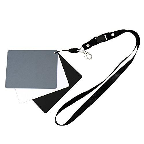 Tarjeta gris para balance de blancos manual y medición de exposición. Con tarjeta de referencia en blanco y negro. Práctica correa para el pecho. Refleja el 18% de la luz.