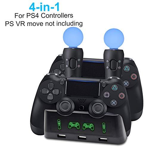 AMANKA 4 in 1 Playstation 4 PS / VR Move Controller Estación Base Estación de Carga para Mandos de Playstation 4 Sony PS4 Controller y Mando de Movimiento PS VR con Indicador de Carga LED, Negro
