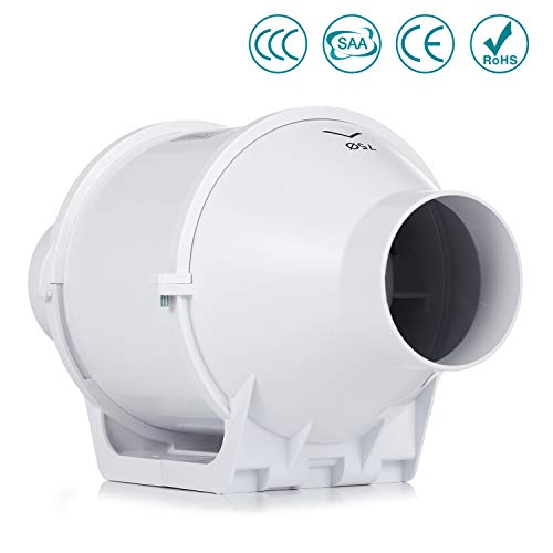 Inline-Lüfter,HG POWER 75mm Abluftventilator Hochleistungs Inline Rohrventilator Mischstrom Lüftungsanlage Abluft für Zimmer Badezimmer Küche (75mm standard)