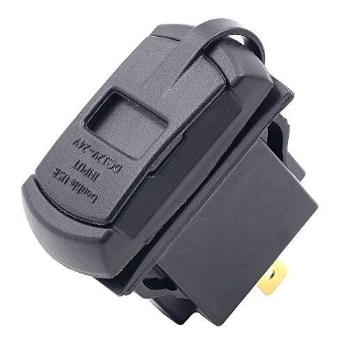 Philip Peacoc Auto USB Ladegerät 12V / 24V wasserdichte Dual Port USB Ladebuchse mit Spannungsvoltmeter Auto Ladegerät Adapter (Color : Blue Light) Philips Auto Adapter