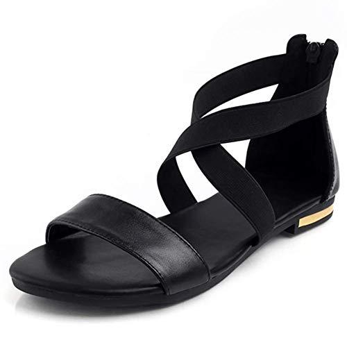 Ferse Damen Süße Schuhe (H-O 2019 Leder Frauen Sandalen Heißer Mode Sommer Süße Frauen Wohnungen Ferse Sandalen Damen Schuhe Schwarz,38)