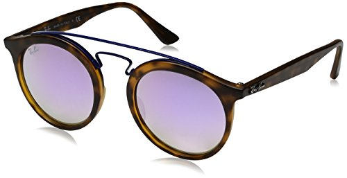 RAYBAN JUNIOR Unisex-Erwachsene Sonnenbrille Gatsby I, Matte Havana/Mirrorgradientlillac, 49