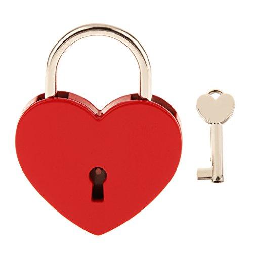 *Vintage Personalisierte Liebesschloss Herz Vorhängeschloss Herzform Schloss Herzform Vorhängeschloss Mit Schlüssel Reise Schließfach-Set – Rot*