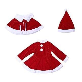 Amosfun Un lindo vestido de Navidad para chicas,un disfraz de Navidad,un disfraz de la Sra.Claus,un chaleco,un vestido.