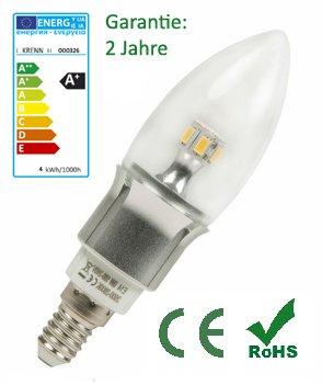Krenn LED Vela k4lg, 4W, E14, 400lúmenes, luz blanca cálida