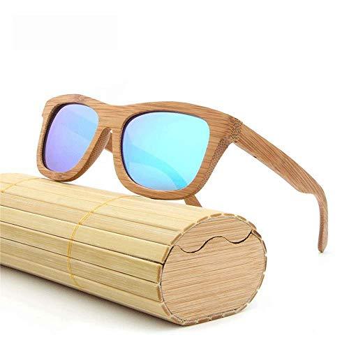 Around Classics polarisierte Sonnenbrillen, kleine runde verspiegelte Gläser Unisex-Brille aus echtem Bambus,Blue
