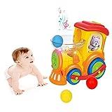 YGJT Centros de Actividades para Bebés Poner Huevos Coche de Juguetes Niños Pequeños 1-4 Años Tren Eléctrico Educativo Temprano de Música Multifuncional para Niños de 1 2 3 4 Años