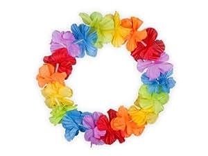 Couronne Hawaïenne Rainbow (HH-01) elastiqué hawaien Hawaï hawaii Hula fleur pétale ambiance tropique déguisement fête beach party été plage printemps mariage anniversaire accessoire cheveux serre-tête bandeau
