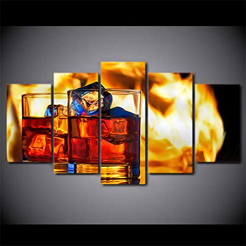TMMTO Leinwandbild 5 Teilig Hd Moderne Wohnzimmer EIS Cola Cup Wandkunst Modulare Poster Dekoration Malerei-Rahmen