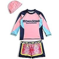 JLWF Traje De Baño Dividido para Niños Protector Solar De Secado Rápido Traje De Baño De Manga Larga para Niños Pink-07