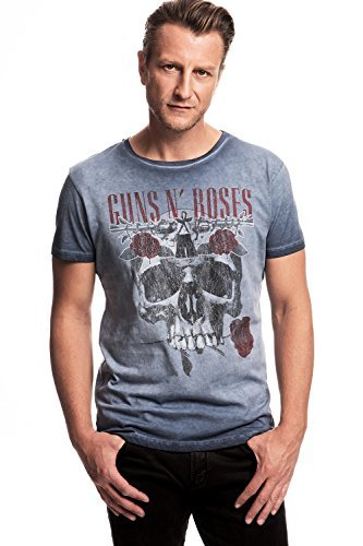 GUNS N' ROSES - FLOWER SKULL - T-SHIRT UFFICIALE UOMO - Blue, Medium, Blu