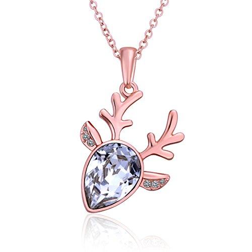 yeahjoy Charm Damen Rose Vergoldet Deer Form Anhänger Halsketten mit glänzend cz Männer 14k White Gold Halskette