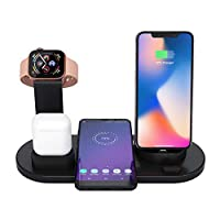 Baiwka Wireless Charger Stand, 4 In 1 Wireless Charging Dock For Apple Watch And Airpods, Qi Fast Wireless Charging Station Compatible With IPhone X/XS/XR/Xs Max/8/8 Plus