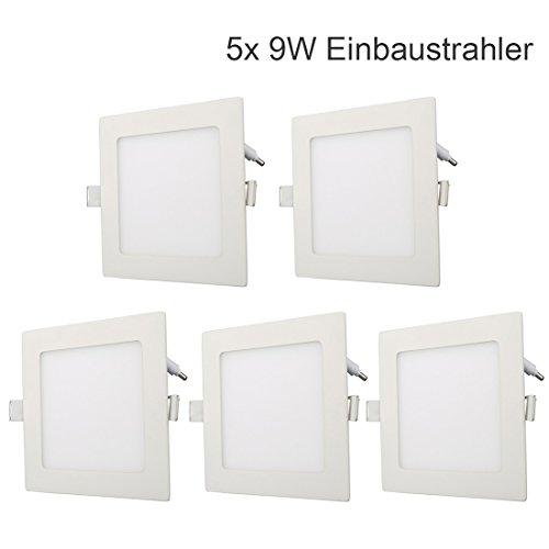 5x 9W LED Einbaustrahler Panel Spot Einbauleuchten Deckenleuchte Ultraslim FLACH mit Trafo AC86-265V Downlight Eckig Einbauspot (Einbauleuchten Quadratische)