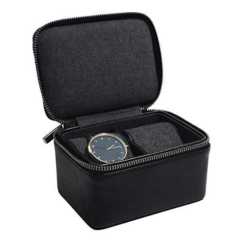 Stackers Herren-Uhrenbox mit Doppelreißverschluss, Schwarz - Schwarz Stacker